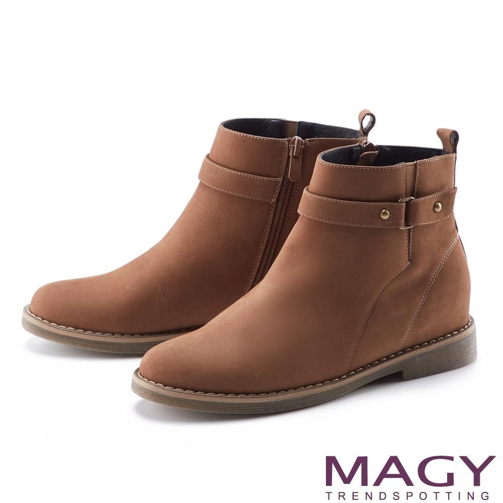 MAGY 個性繫帶真皮平底 女 短靴 棕色