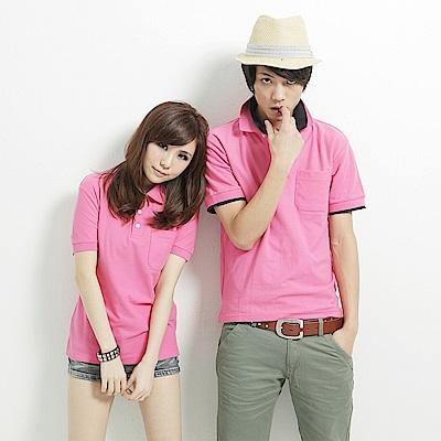 達邦 P0124大尺碼高磅數混搭必備素面口袋短袖POLO衫-粉紅
