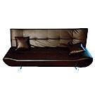 綠活居 西爾黑皮革多段式機能沙發/沙發床(展開式變化設計)-188x78x86cm-免組