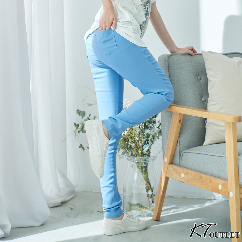 KT 圖騰腰頭彈性窄管褲-淺藍