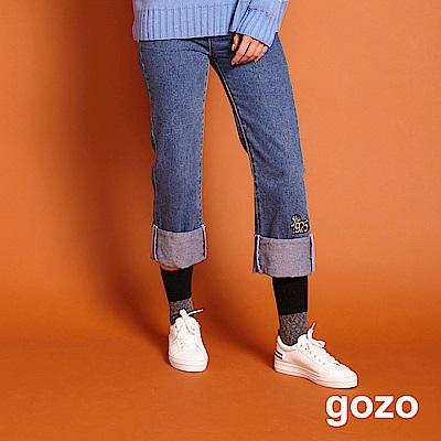 gozo 1925年代刺繡反折丹寧褲(牛仔藍)