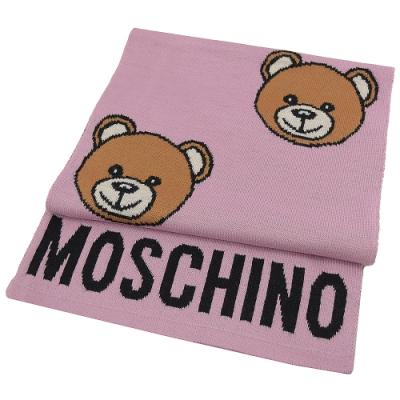 MOSCHINO電繡大臉熊熊羊毛長圍巾(粉紅 )