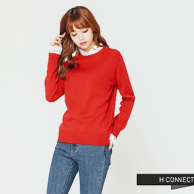 H:CONNECT 韓國品牌 女裝-拼接蕾絲小立領針織衫-紅