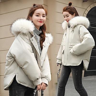 DABI 韓系連帽大毛領棉衣女學生棉服單品外套