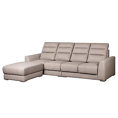 綠活居 西納羅防貓抓皮革獨立筒L型沙發組合(四人座+椅凳)-287x177x99免組