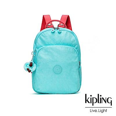 Kipling 糖果色調薄荷綠撞色雙層拉鍊後背包-SEOUL AIR S