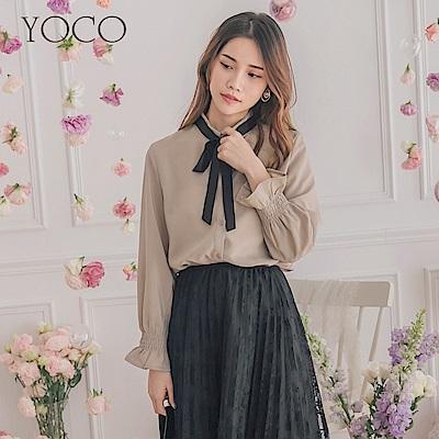 東京著衣-YOCO OL嚴選袖口鬆緊撞色綁帶上衣-S.M.L