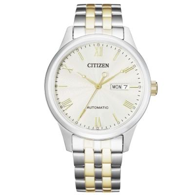 CITIZEN Mechanical現代極簡機械錶(NH7506-81A)-銀x金/40mm
