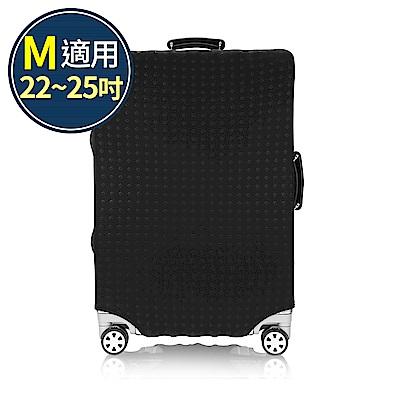 旅遊首選 行李箱套 防塵套 保護套 加厚高彈性伸縮 箱套 M號(黑色)