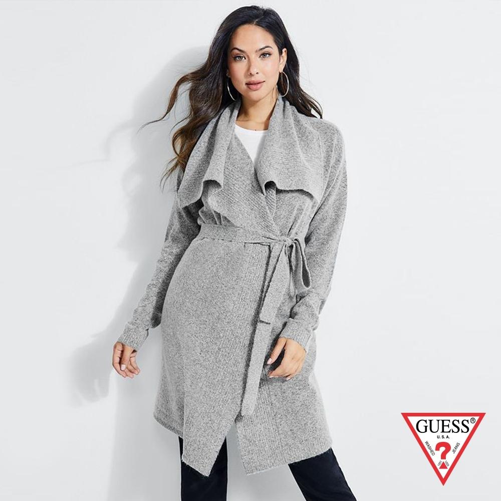 GUESS-女裝-翻領開襟針織長版外套-灰
