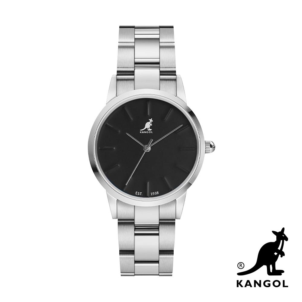 KANGOL 浮雕鋼鍊錶36mm-黑面銀 KG714367