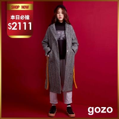 gozo 彩色繡線綁帶造型羊毛大衣(灰色)