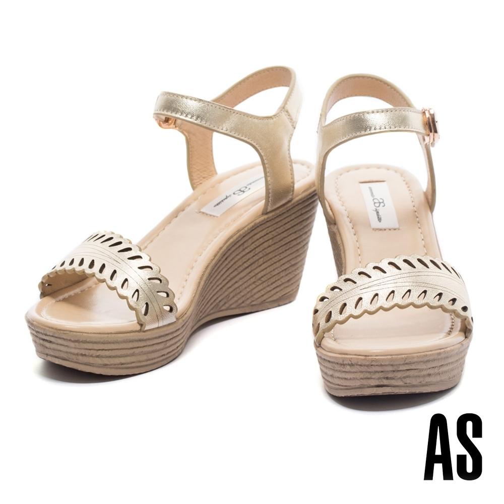 涼鞋 AS 氣質時尚一字鏤空全真皮仿舊楔型高跟涼鞋-金