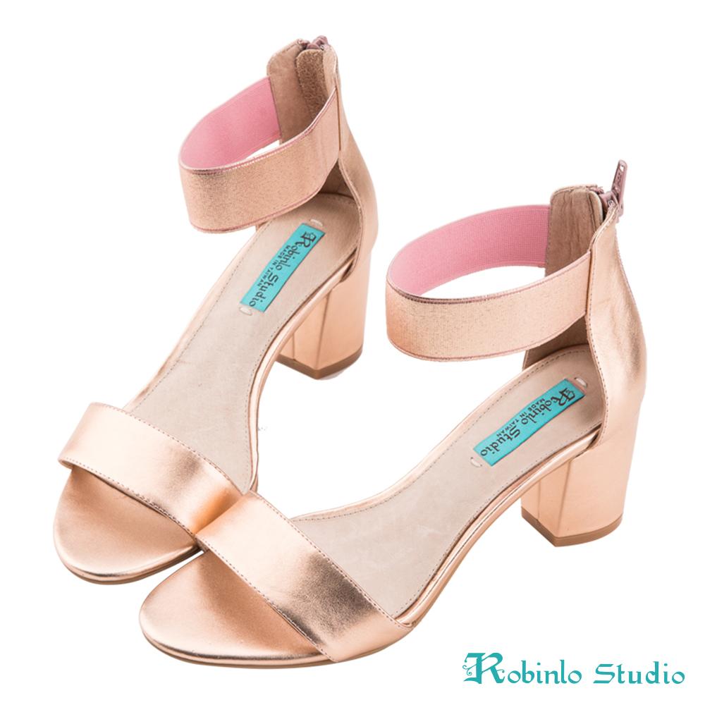 Robinlo Studio 夏日金屬一字帶真皮涼跟鞋 玫瑰金色