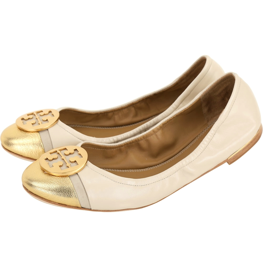 TORY BURCH Minnie 銅金盾牌牛皮拼色平底娃娃鞋(米色)