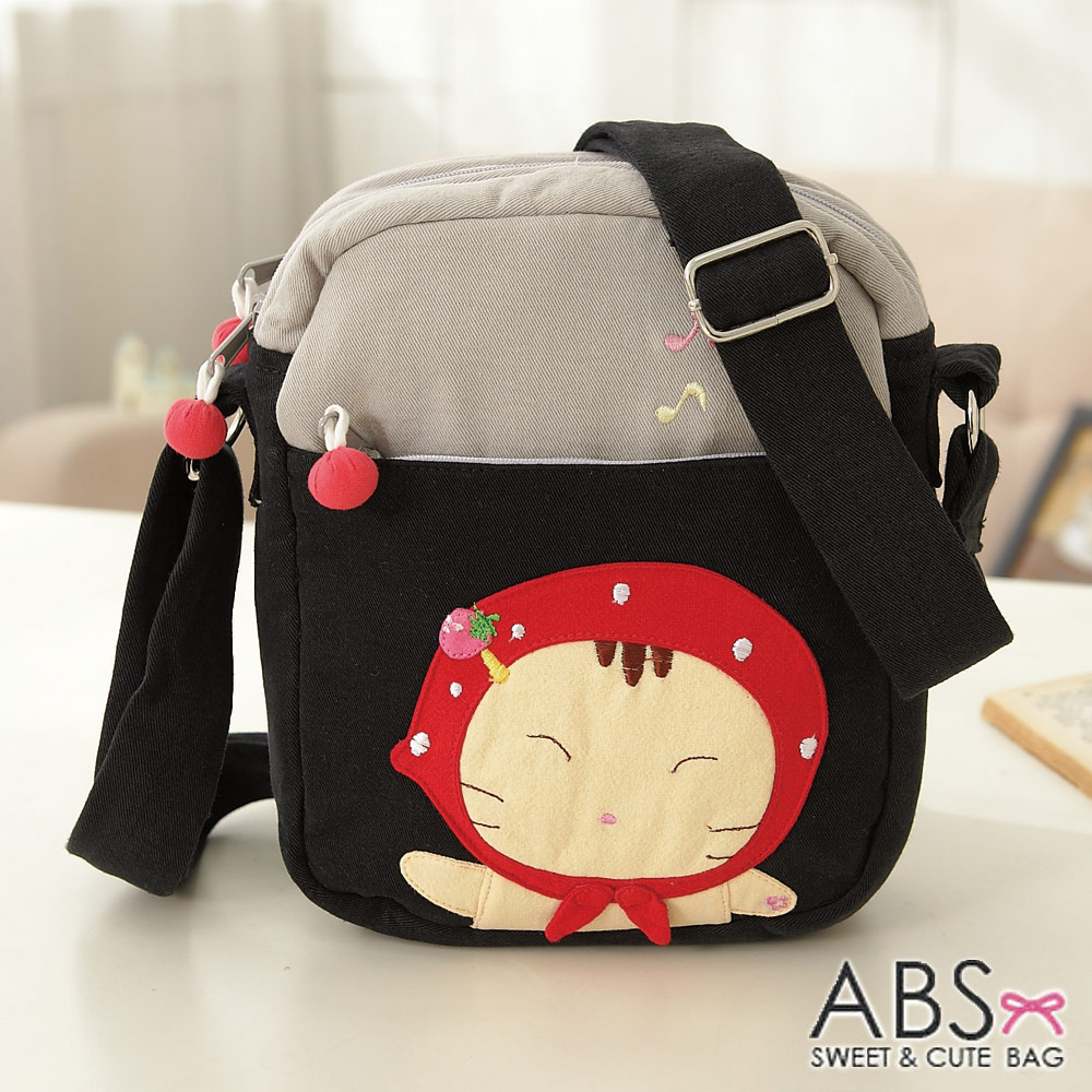 ABS貝斯貓 可愛貓咪手工拼布 小型側背包(典雅黑)88-163