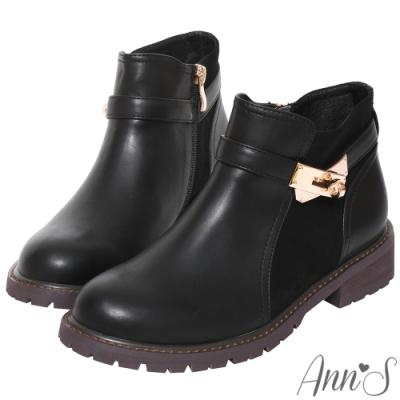 Ann'S簡練感-淺金轉扣拼接平底短靴-黑