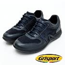 Grisport 義大利進口-拼接綁帶厚底真皮休閒鞋-藍色