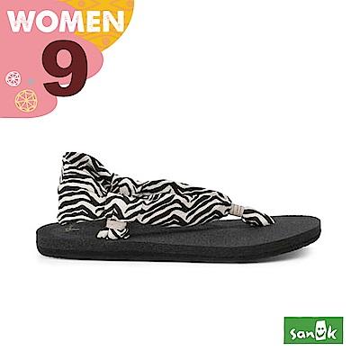 SANUK 女款US9 動物紋綁帶涼鞋(斑馬紋)