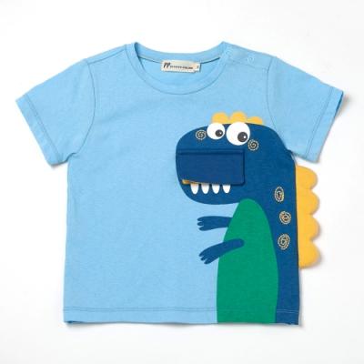 PIPPY大嘴恐龍貼布繡T恤-藍