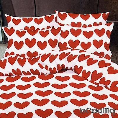 BEDDING-活性印染雙人鋪棉床包兩用被套四件組-愛心