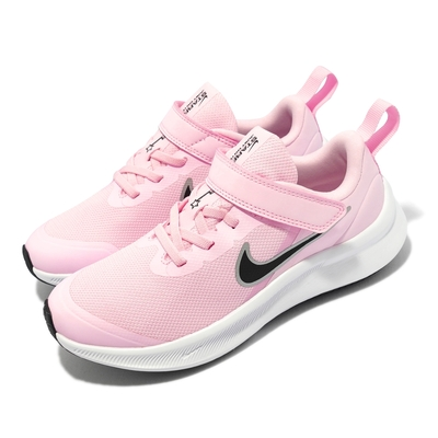 Nike 慢跑鞋 Star Runner 3 PSV 童鞋 輕量 透氣 舒適 避震 魔鬼氈 中童 粉 白 DA2777-601