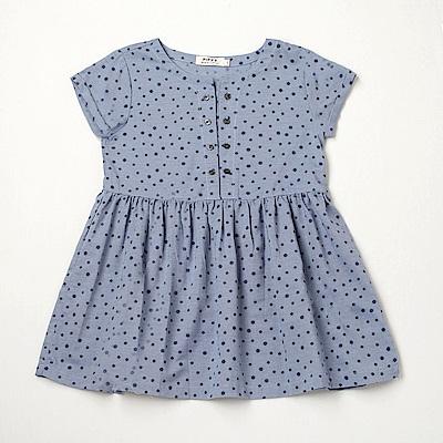 PIPPY 點點開襟洋裝 藍