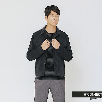 H:CONNECT 韓國品牌 男裝-質感雙口袋麂皮外套-藍