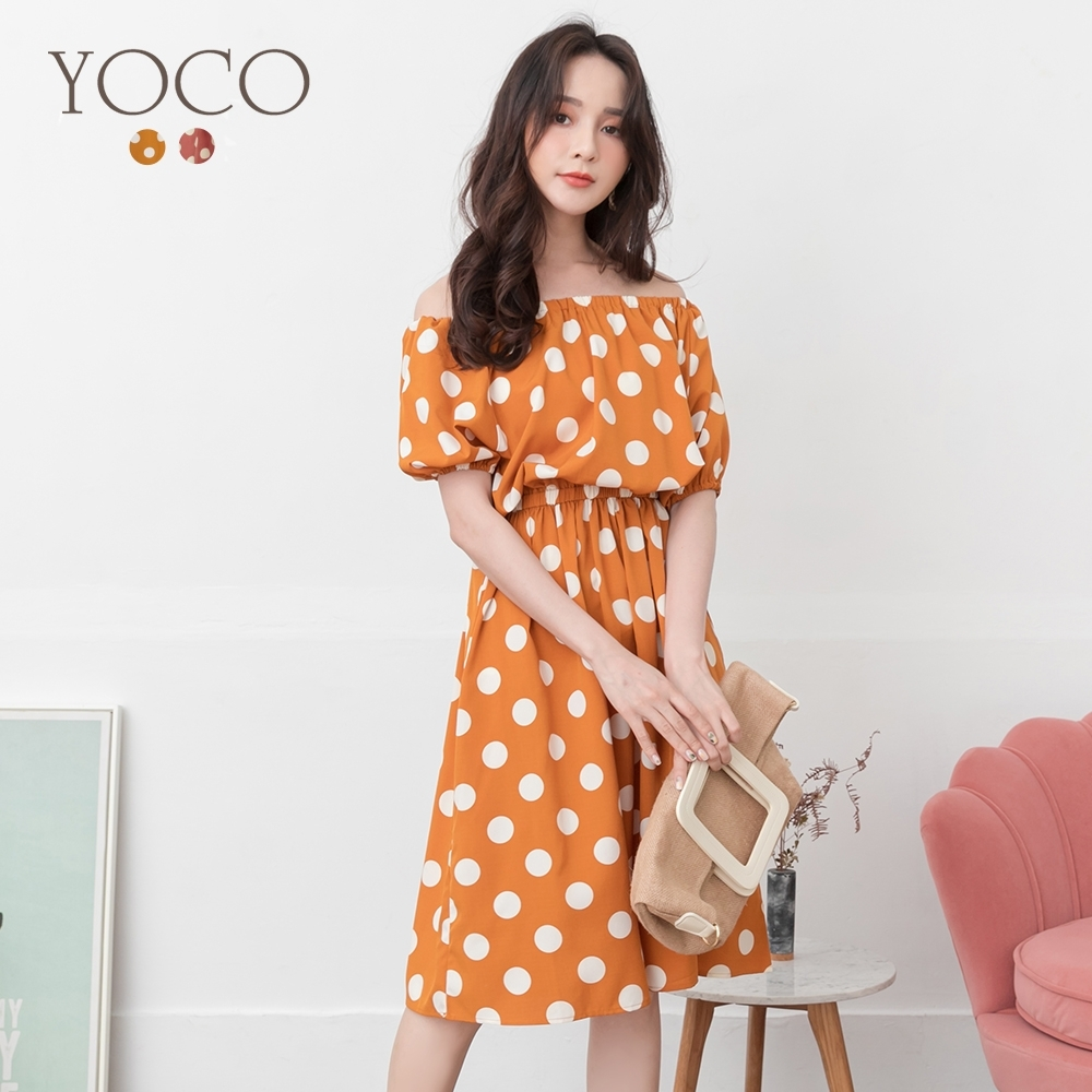 東京著衣-YOCO 俏皮甜心波點腰鬆緊澎袖洋裝-S.M.L(共二色)