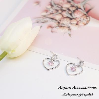 【3件58折/ANPAN愛扮】韓南大門氣質大小粉心925耳釘式耳環