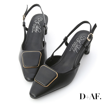 D+AF 優雅時尚.幾何釦飾後空中跟鞋*黑