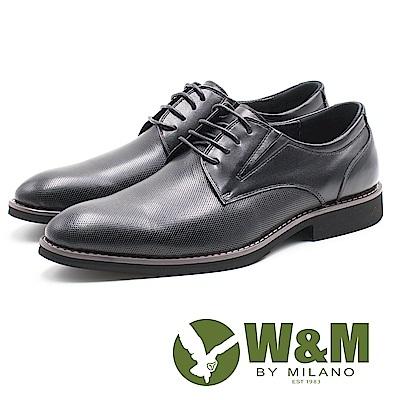 W&M 網狀霧面質感紳士綁帶男皮鞋-黑