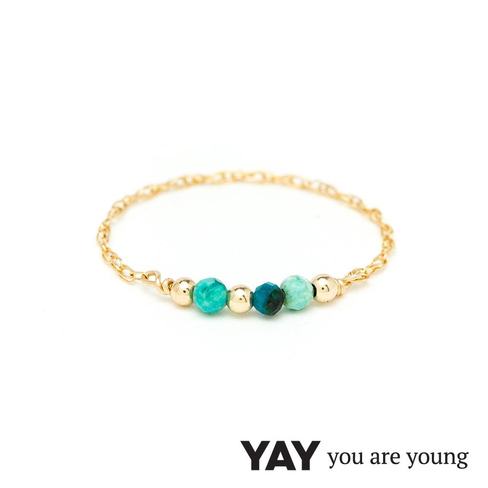 YAY You Are Young法國品牌Riviera土耳其藍孔雀石鍊戒 金色迷你款