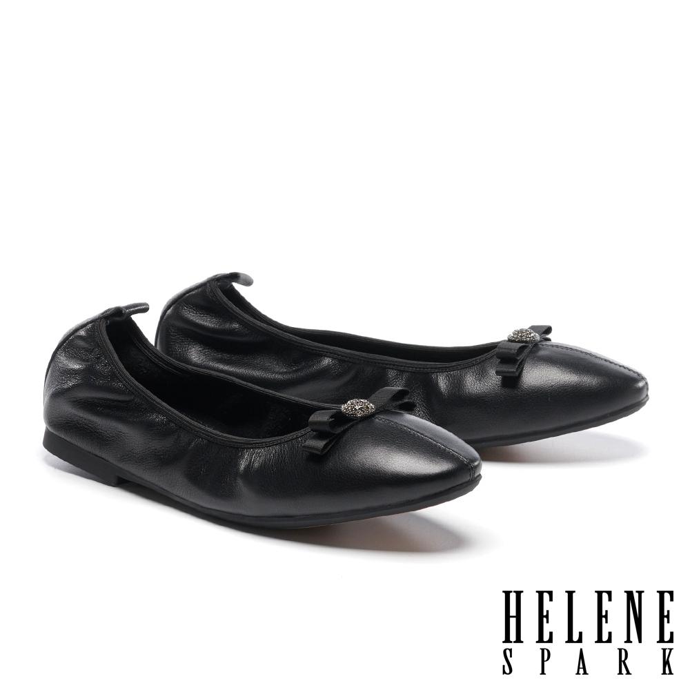 平底鞋 HELENE SPARK 素雅氣質蝴蝶結牛皮娃娃鞋平底-黑