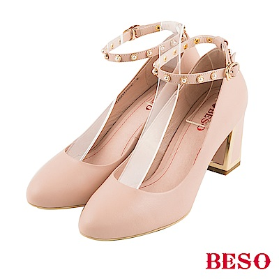BESO氣質女伶 珍珠繫帶全真皮粗跟鞋~粉