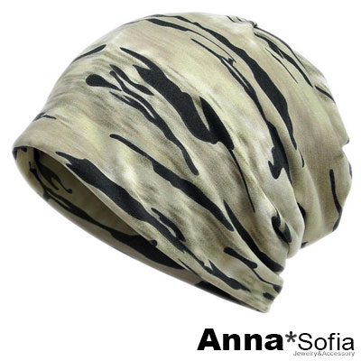 AnnaSofia 旋織中空 多ways口罩圍脖薄毛帽(迷彩-米灰綠系)