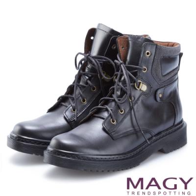 MAGY 個性街頭時尚 嚴選質感牛皮綁帶帥氣軍靴-黑色