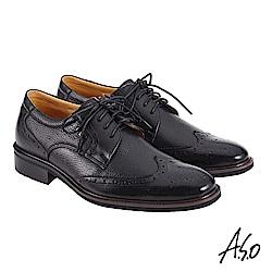 A.S.O職場通勤 萬步健康鞋 異材質搭配紳士鞋-黑
