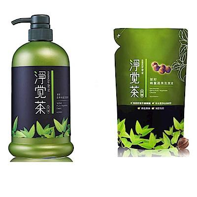 茶寶 淨覺茶 茶籽蔬果碗盤洗潔液/補充包20包(加贈800ml/瓶)特惠組