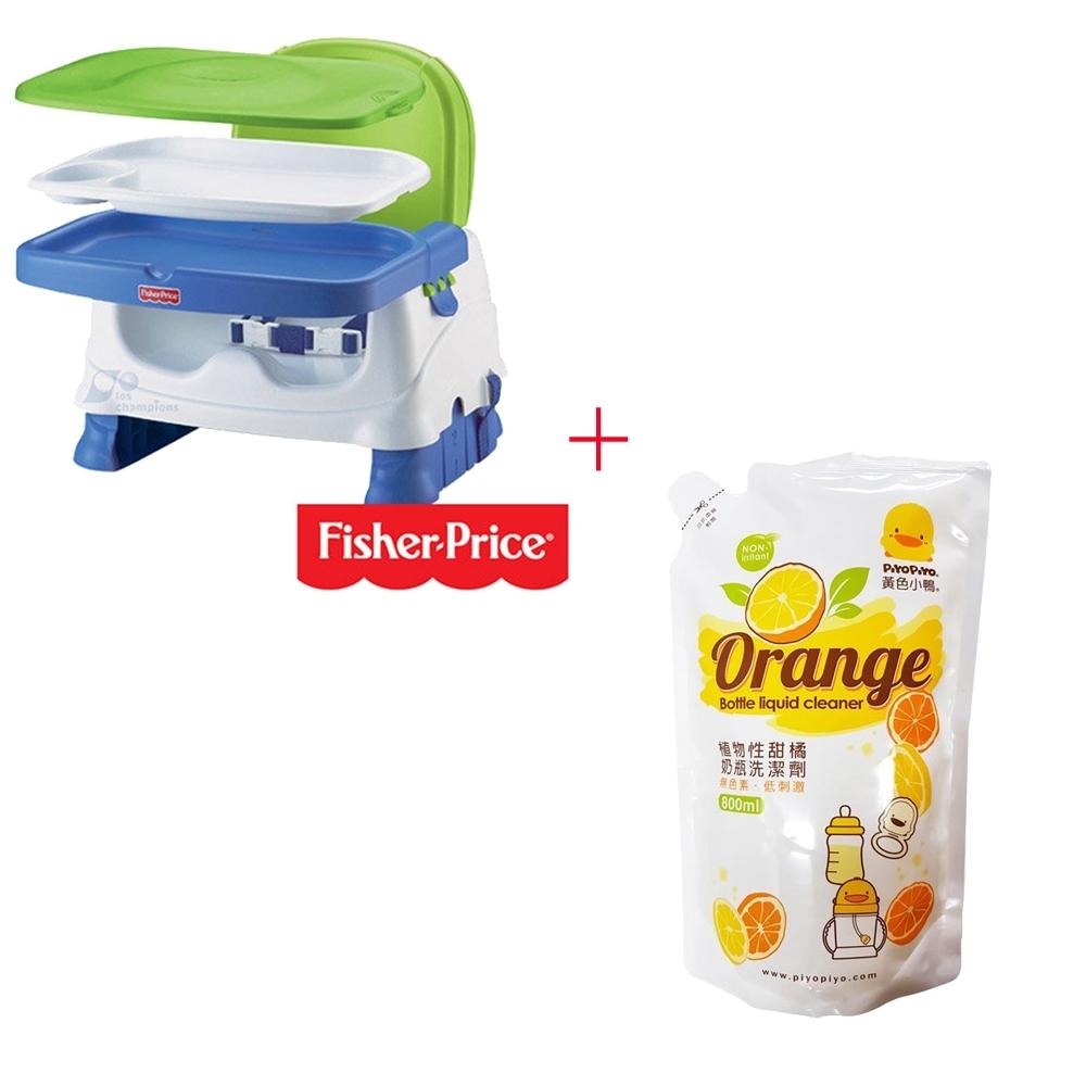 費雪牌 Fisher-Price寶寶小餐椅+黃色小鴨 奶瓶洗潔劑補充包800ML*1入