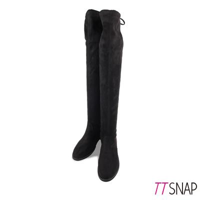 TTSNAP長靴-性感綁帶顯瘦絨面保暖過膝靴 黑