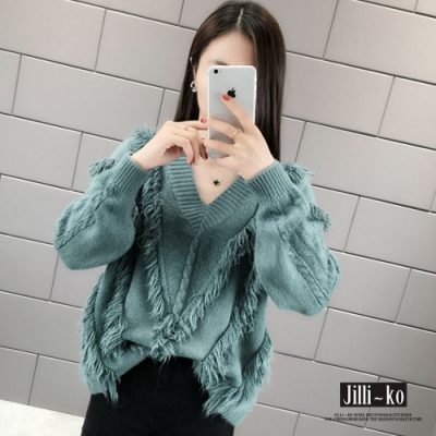 JILLI-KO 韓版慵懶風流蘇設計V領針織上衣- 藍色
