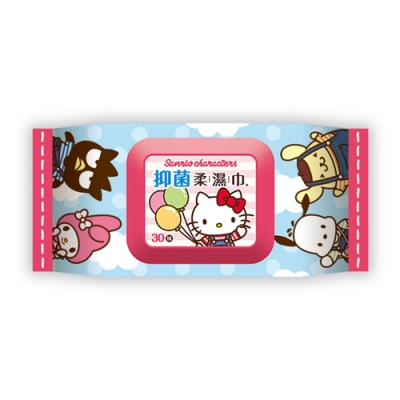 Hello Kitty 三麗鷗家族 吊帶褲好朋友 抑菌有蓋柔濕巾/濕紙巾 30抽 X18包