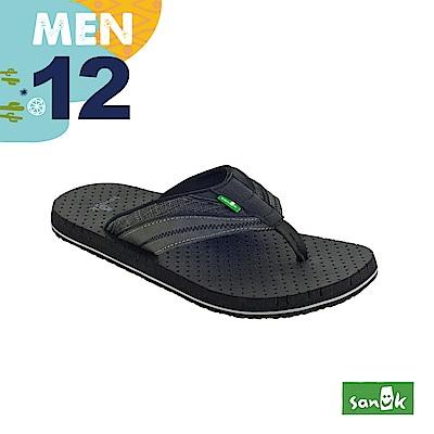 SANUK 男款US12 皮革拼接寬帶人字拖鞋(黑色)