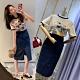 MOCO小豬圓領滾邊棉質T恤加藍色排釦開叉及膝裙套裝L~4XL product thumbnail 1
