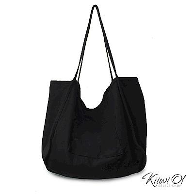 Kiiwi O! shoulderbag | 大容量兩面水洗棉帆布包 黑