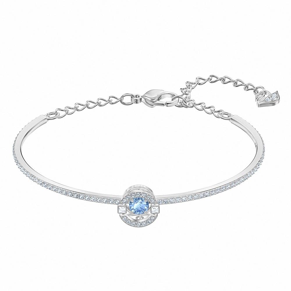 施華洛世奇 Sparkling 白金色簡約雙圓藍鑽手環
