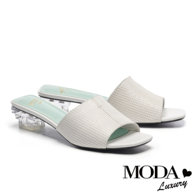 拖鞋 MODA Luxury 柔嫩色彩牛皮方頭低跟穆勒拖鞋-白