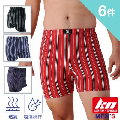 KN 6件組-類蠶絲條紋平口褲716-LD