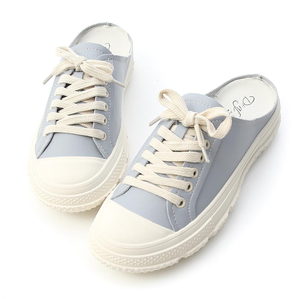 D+AF 舒適自在.真皮綁帶休閒穆勒鞋*藍